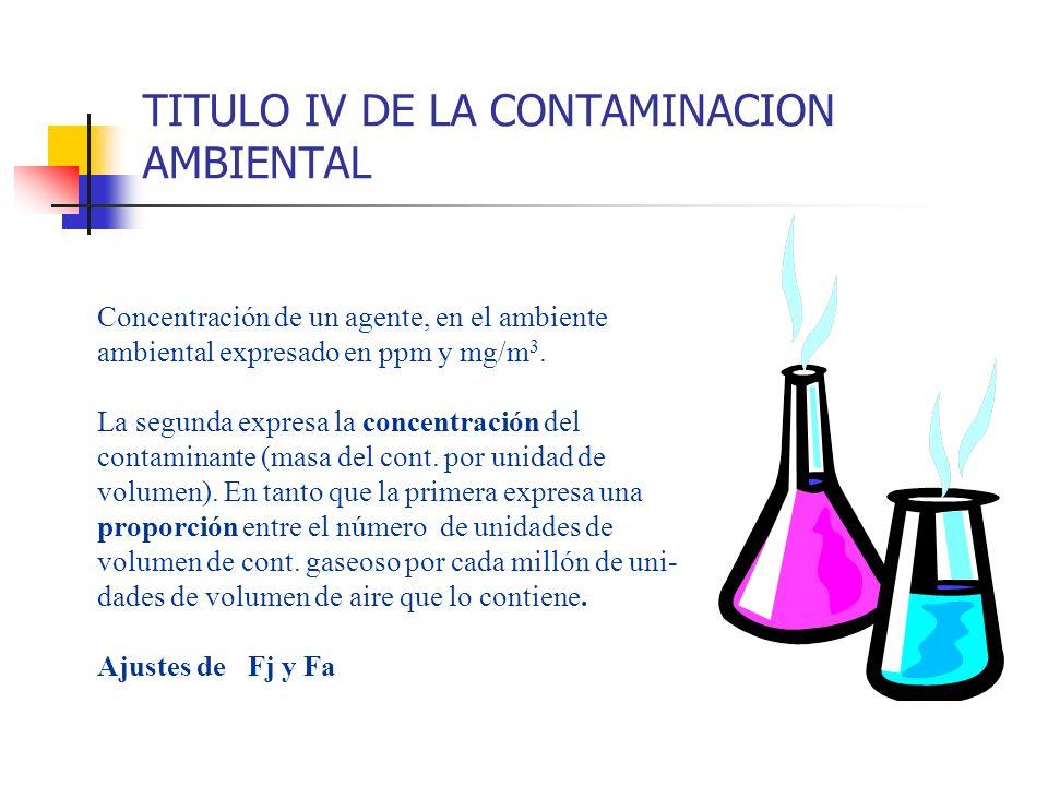 TITULO IV DE LA CONTAMINACION AMBIENTAL