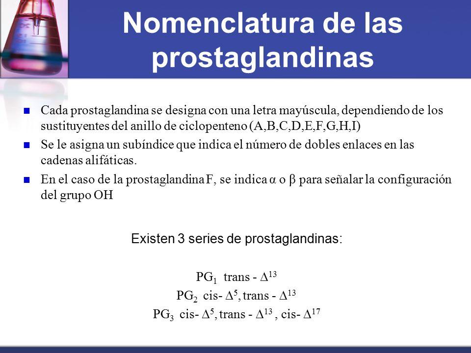 Nomenclatura de las prostaglandinas