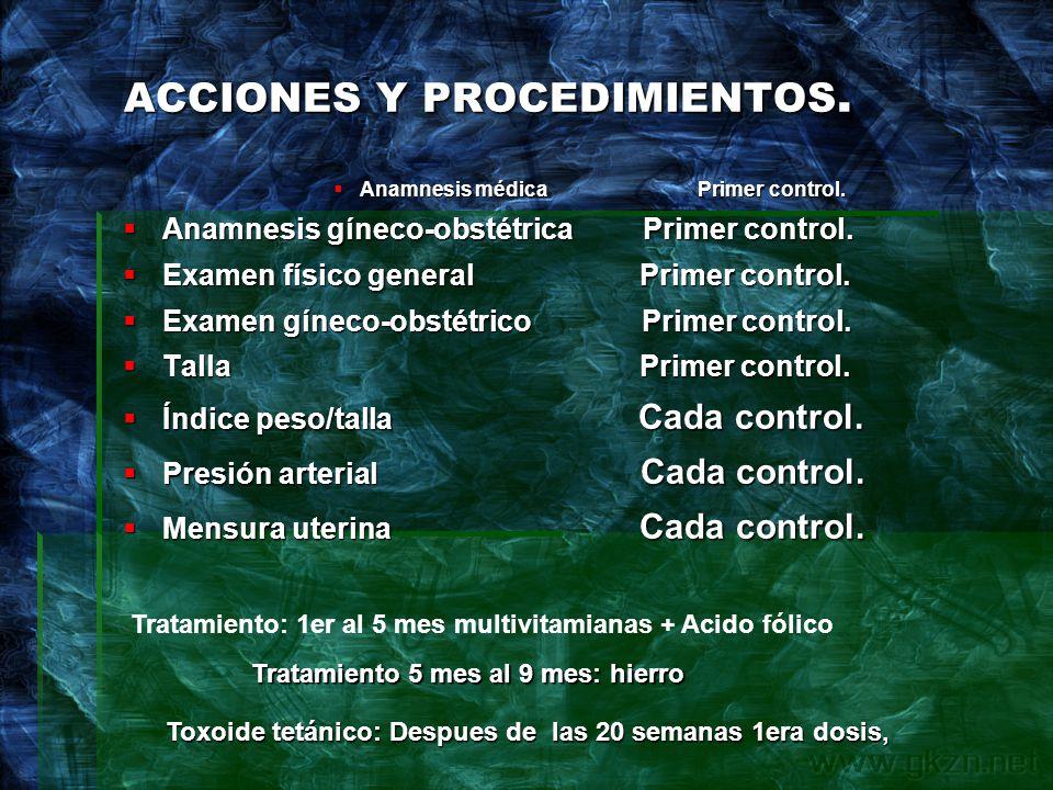 ACCIONES Y PROCEDIMIENTOS.