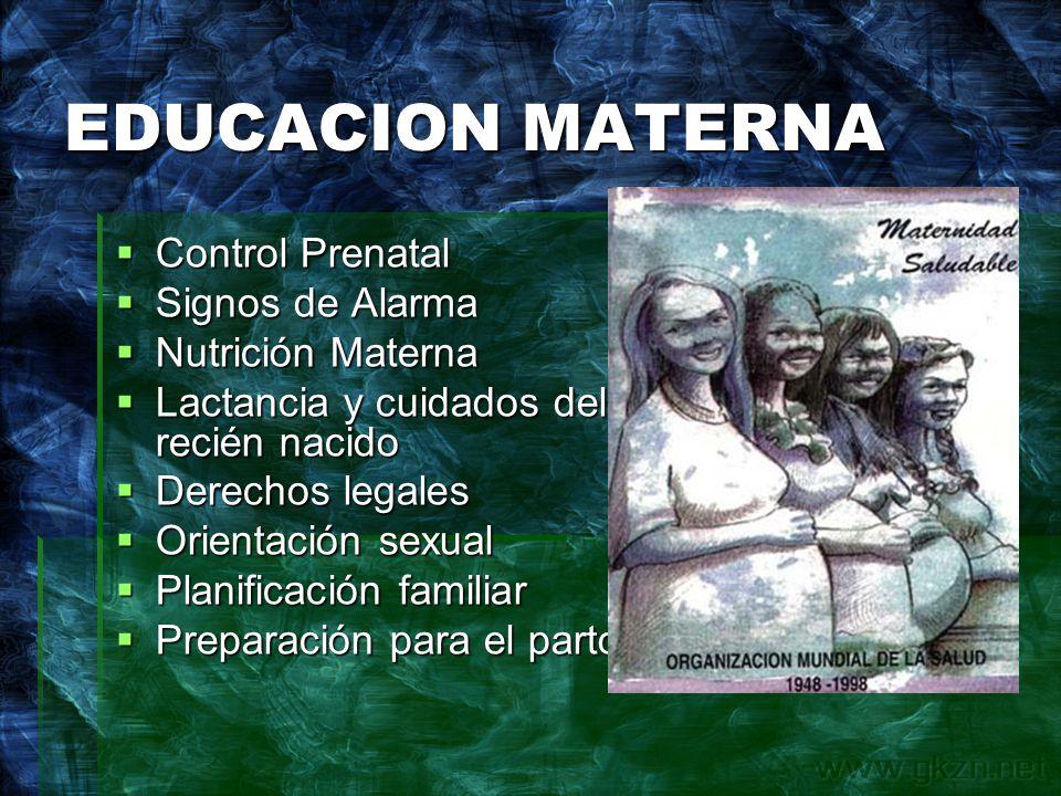 EDUCACION MATERNA Control Prenatal Signos de Alarma Nutrición Materna