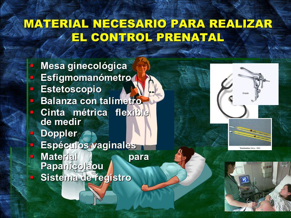 MATERIAL NECESARIO PARA REALIZAR EL CONTROL PRENATAL