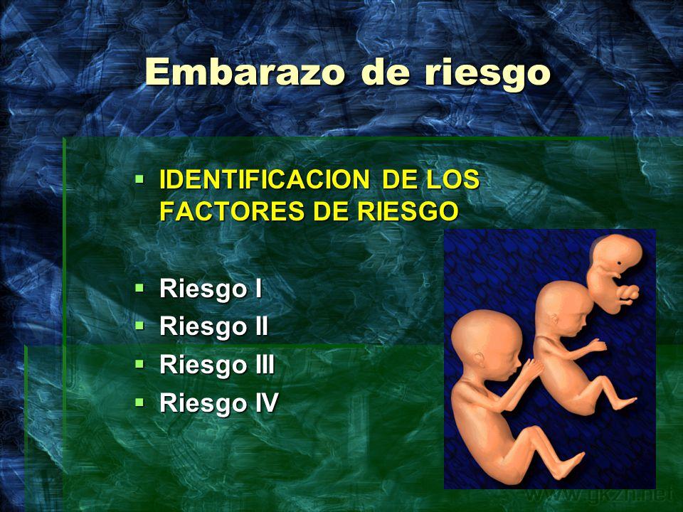 Embarazo de riesgo IDENTIFICACION DE LOS FACTORES DE RIESGO Riesgo I