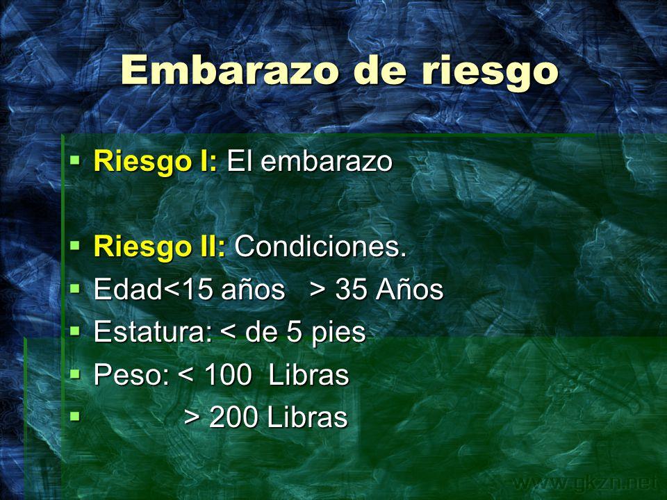 Embarazo de riesgo Riesgo I: El embarazo Riesgo II: Condiciones.