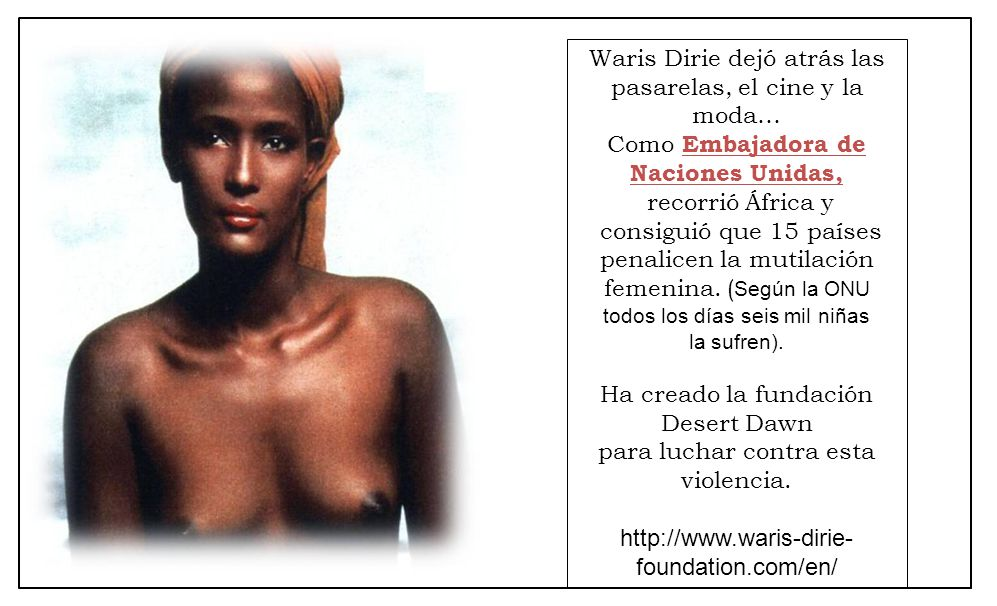 Waris Dirie dejó atrás las pasarelas, el cine y la moda…
