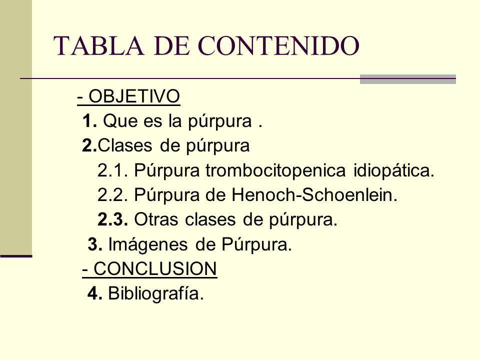 TABLA DE CONTENIDO - OBJETIVO 1. Que es la púrpura .