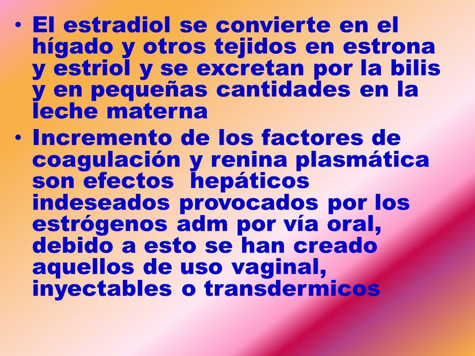 El estradiol se convierte en el hígado y otros tejidos en estrona y estriol y se excretan por la bilis y en pequeñas cantidades en la leche materna