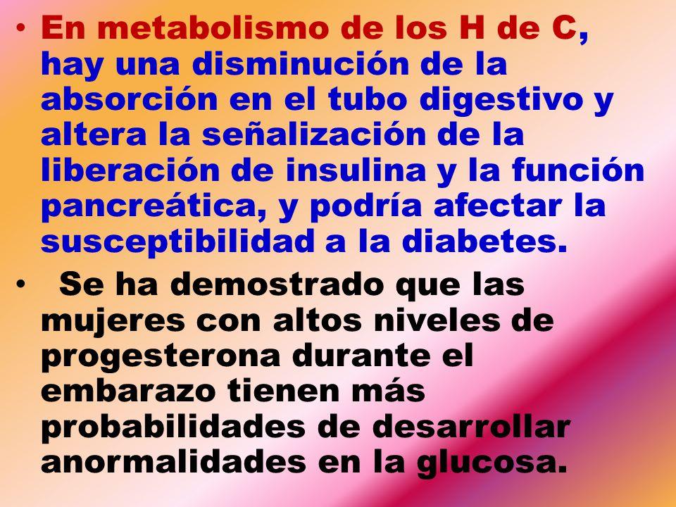 En metabolismo de los H de C, hay una disminución de la absorción en el tubo digestivo y altera la señalización de la liberación de insulina y la función pancreática, y podría afectar la susceptibilidad a la diabetes.