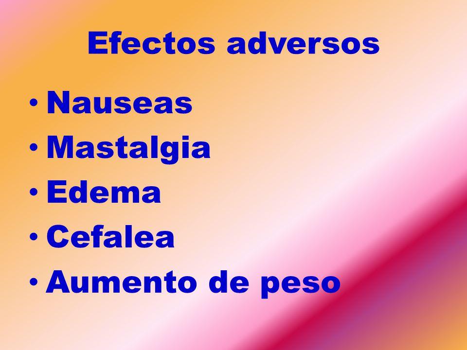 Efectos adversos Nauseas Mastalgia Edema Cefalea Aumento de peso
