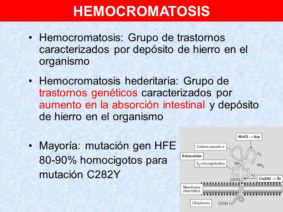 HEMOCROMATOSIS Hemocromatosis: Grupo de trastornos caracterizados por depósito de hierro en el organismo.