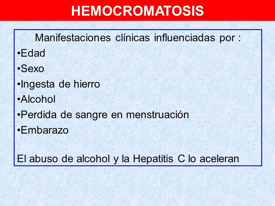 Manifestaciones clínicas influenciadas por :