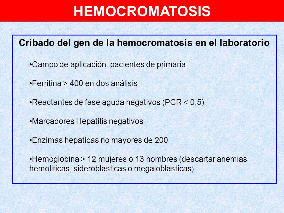 Cribado del gen de la hemocromatosis en el laboratorio