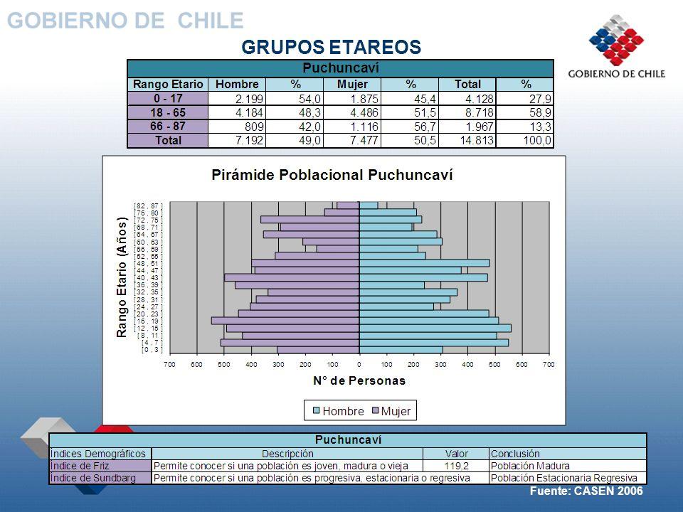 GRUPOS ETAREOS Fuente: CASEN 2006