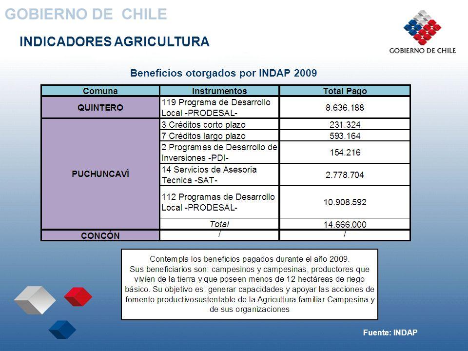 Beneficios otorgados por INDAP 2009
