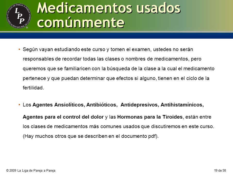 Medicamentos usados comúnmente