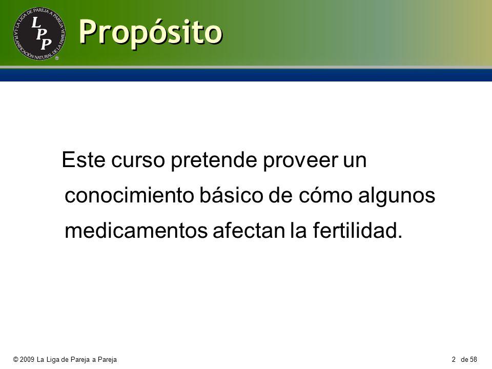Propósito Este curso pretende proveer un conocimiento básico de cómo algunos medicamentos afectan la fertilidad.