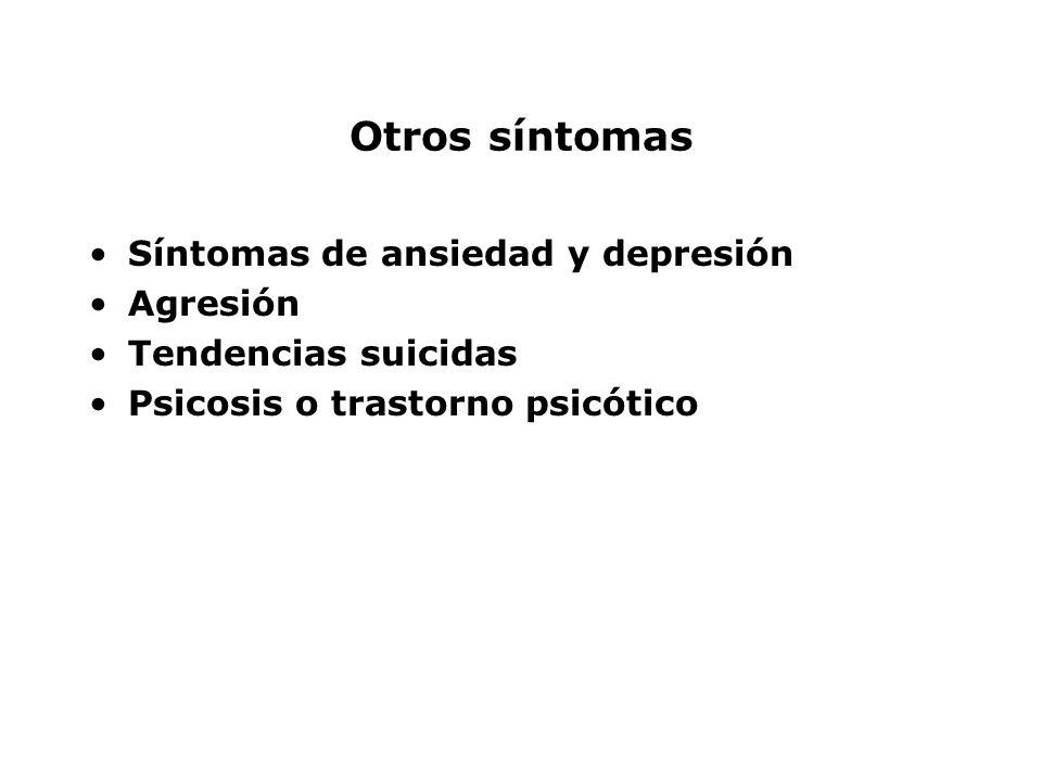 Otros síntomas Síntomas de ansiedad y depresión Agresión