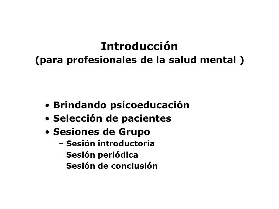 Introducción (para profesionales de la salud mental )