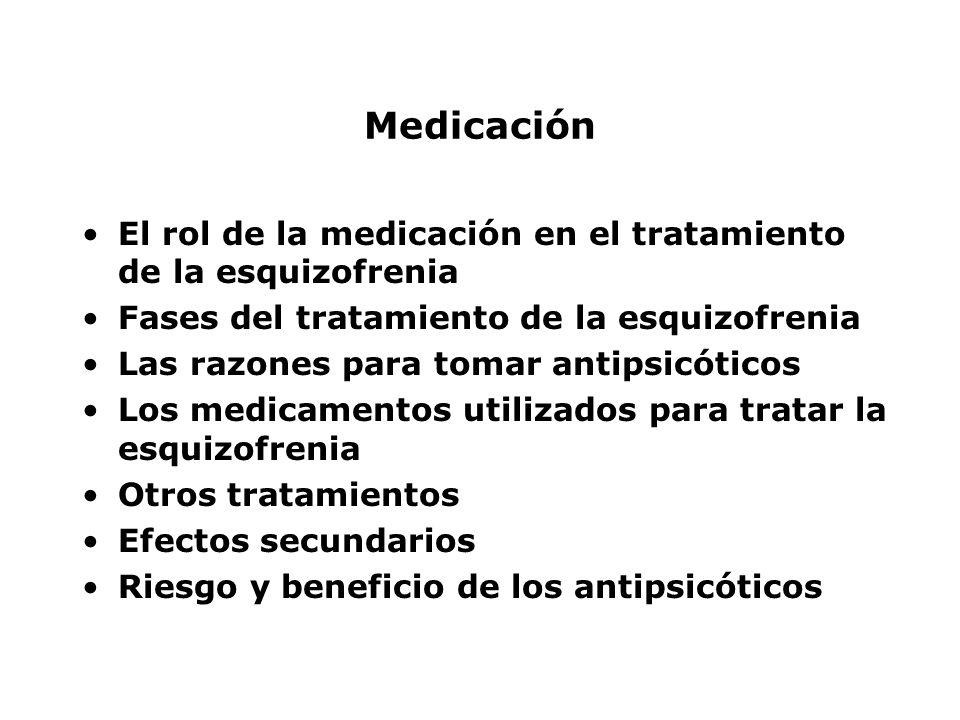 Medicación El rol de la medicación en el tratamiento de la esquizofrenia. Fases del tratamiento de la esquizofrenia.