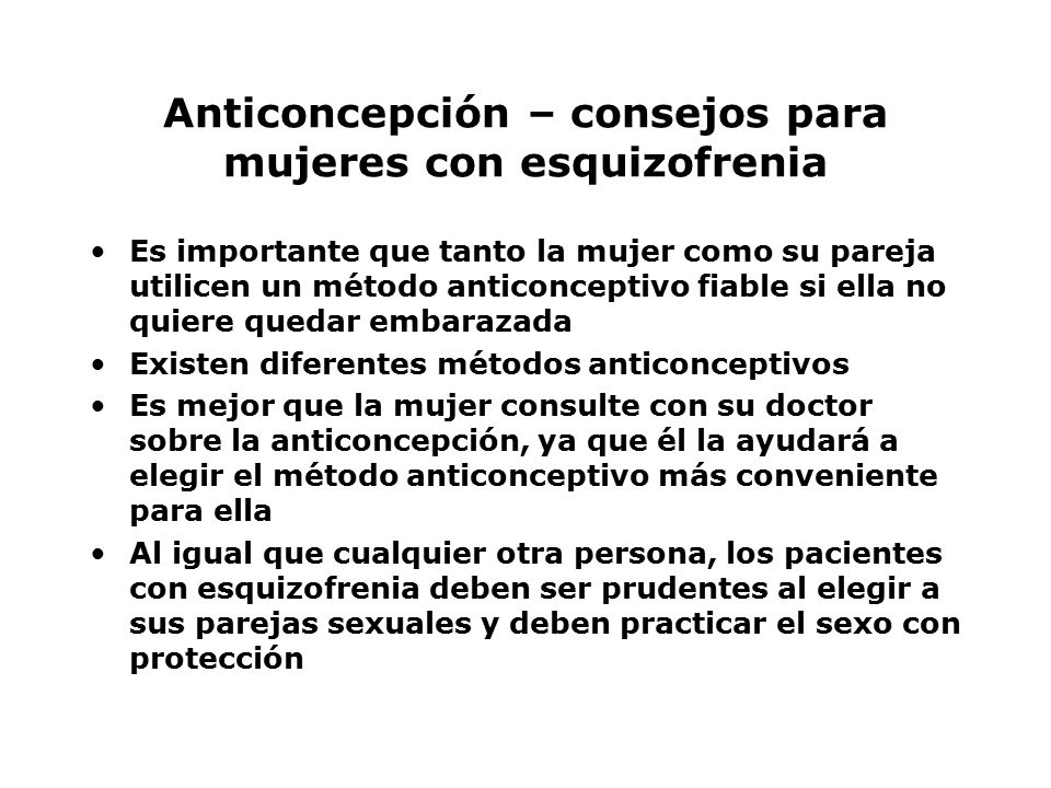 Anticoncepción – consejos para mujeres con esquizofrenia