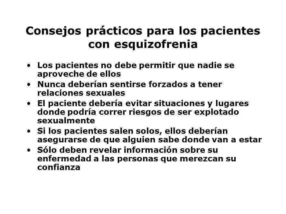 Consejos prácticos para los pacientes con esquizofrenia