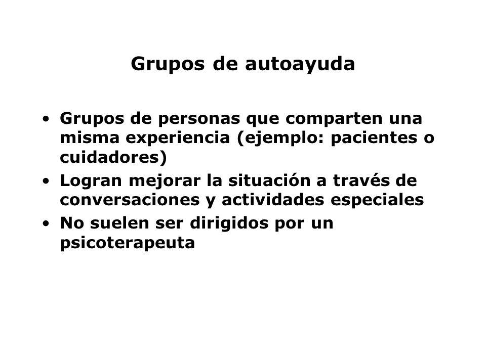 Grupos de autoayuda Grupos de personas que comparten una misma experiencia (ejemplo: pacientes o cuidadores)