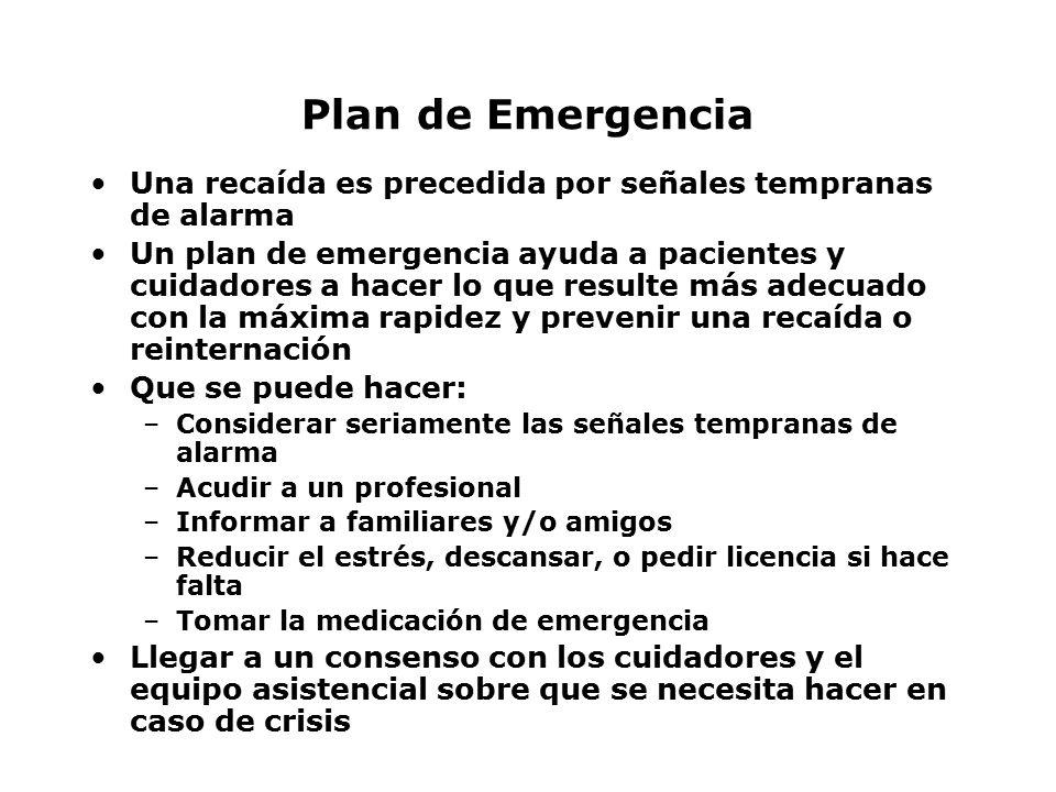 Plan de Emergencia Una recaída es precedida por señales tempranas de alarma.