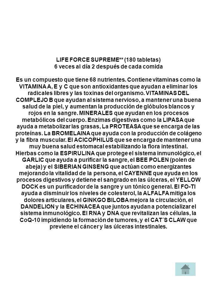 LIFE FORCE SUPREME** (180 tabletas)