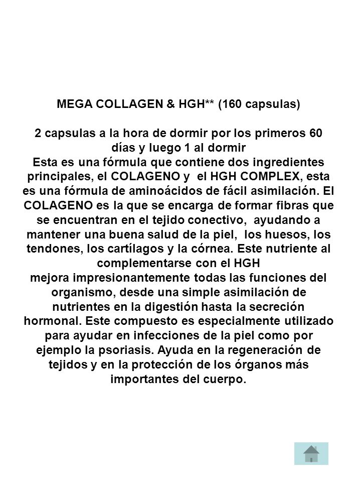 MEGA COLLAGEN & HGH** (160 capsulas)