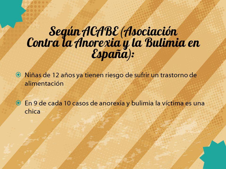 Según ACABE (Asociación Contra la Anorexia y la Bulimia en España):
