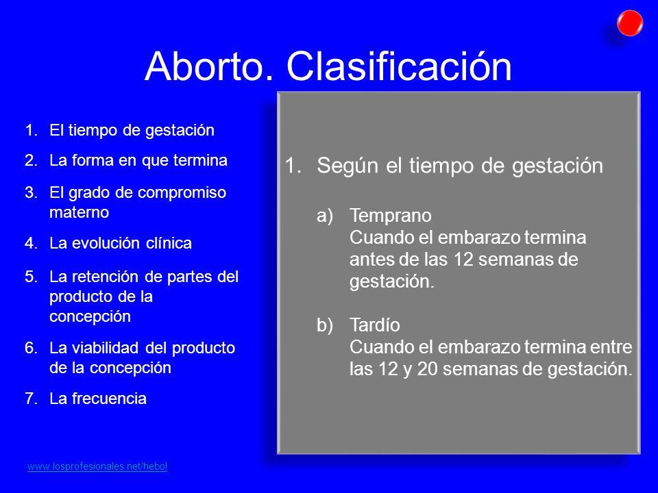 Aborto. Clasificación Según el tiempo de gestación Temprano