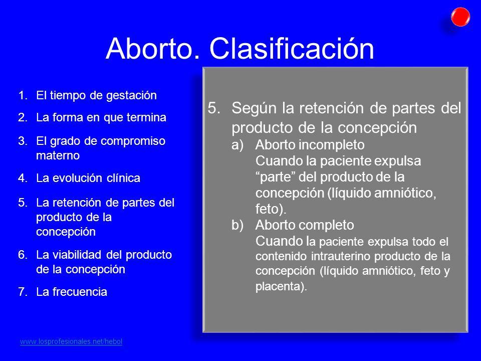 Aborto. Clasificación El tiempo de gestación. Según la retención de partes del producto de la concepción.