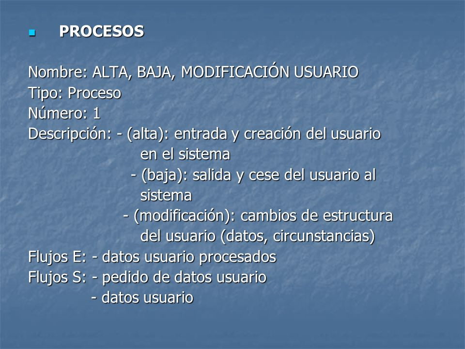 PROCESOSNombre: ALTA, BAJA, MODIFICACIÓN USUARIO. Tipo: Proceso. Número: 1. Descripción: - (alta): entrada y creación del usuario.