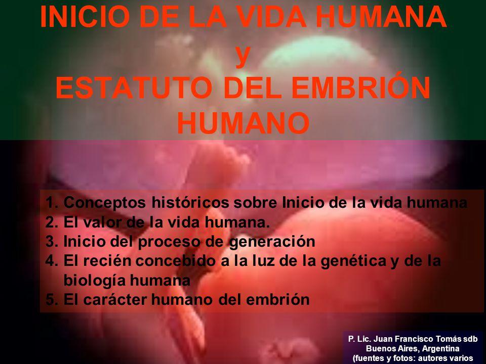 INICIO DE LA VIDA HUMANA y ESTATUTO DEL EMBRIÓN HUMANO