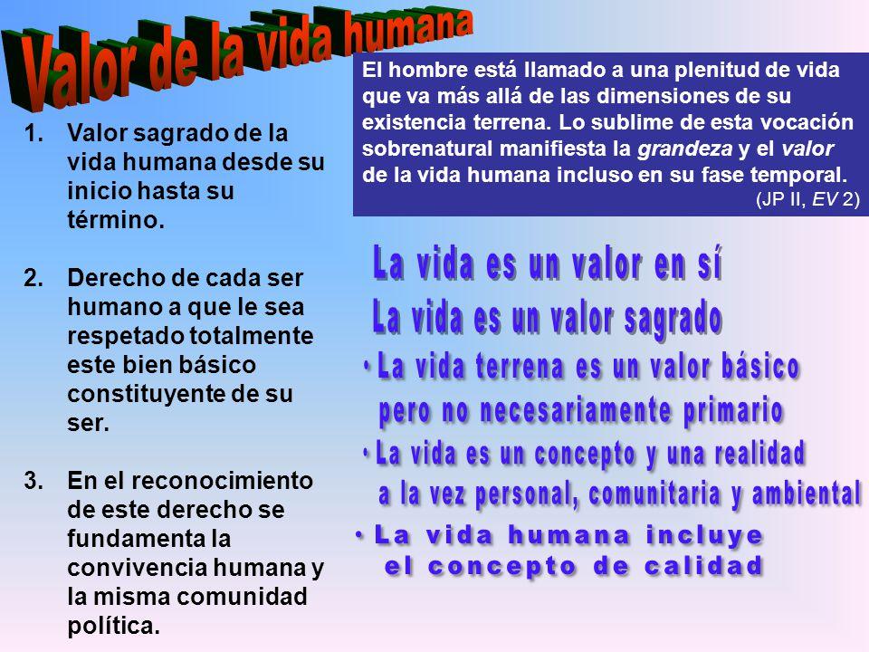 Valor de la vida humana El hombre está llamado a una plenitud de vida.