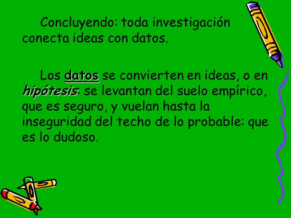 Concluyendo: toda investigación conecta ideas con datos.