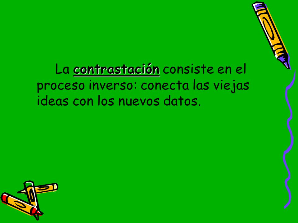 La contrastación consiste en el proceso inverso: conecta las viejas ideas con los nuevos datos.