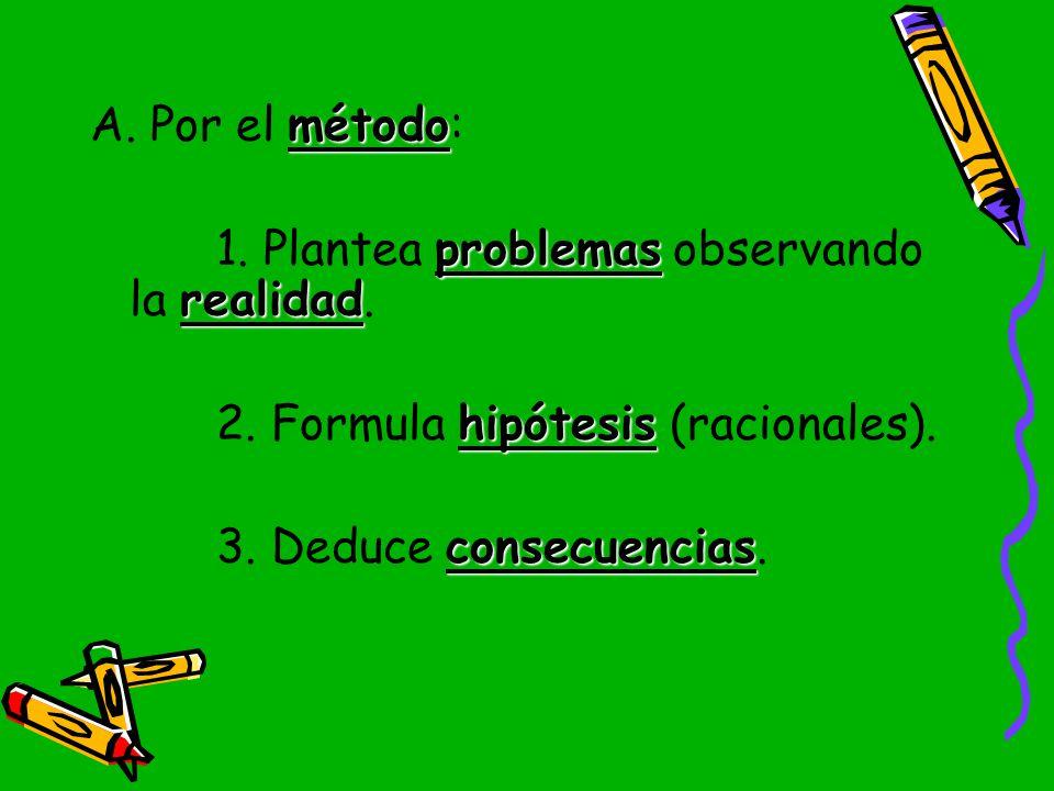 A. Por el método: 1. Plantea problemas observando la realidad.