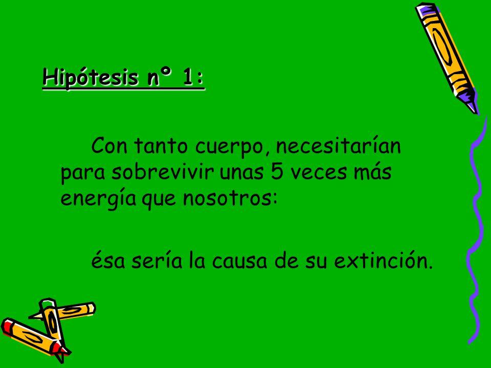 Hipótesis nº 1: Con tanto cuerpo, necesitarían para sobrevivir unas 5 veces más energía que nosotros: