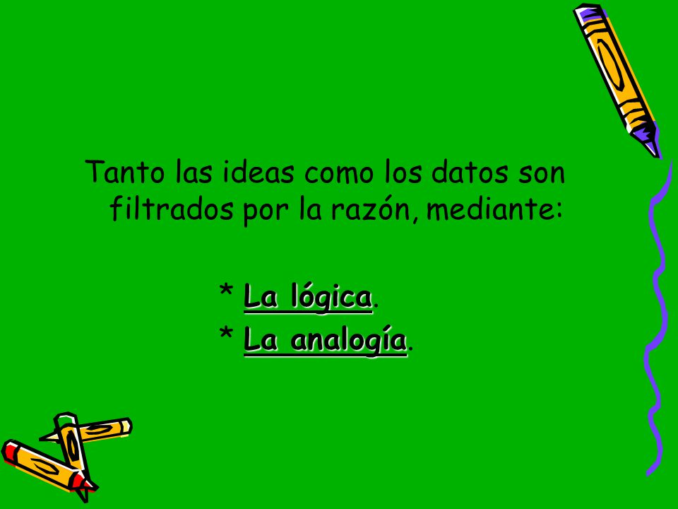 Tanto las ideas como los datos son filtrados por la razón, mediante: