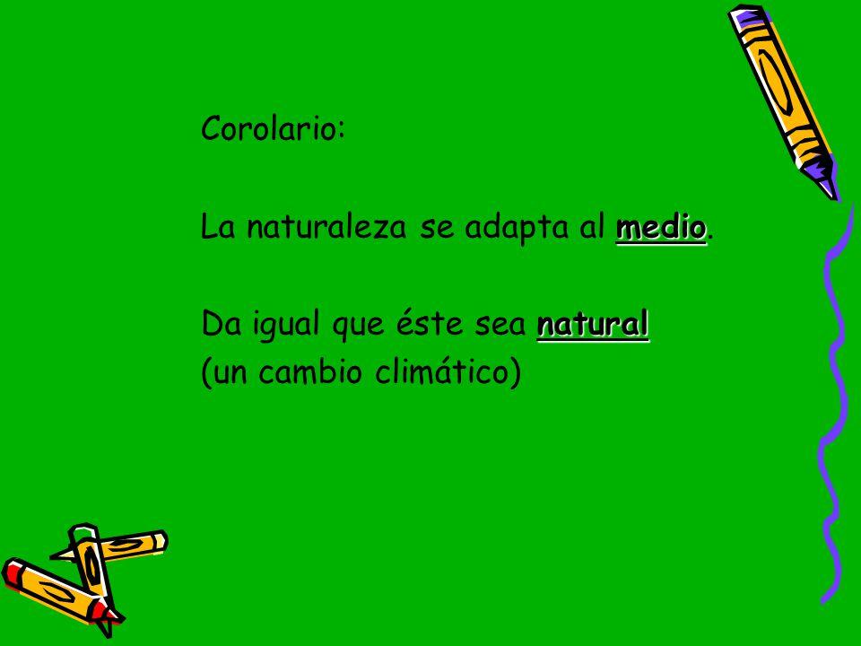 Corolario: La naturaleza se adapta al medio.