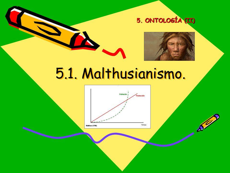 5. ONTOLOGÍA (II) 5.1. Malthusianismo.