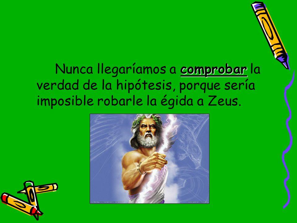 Nunca llegaríamos a comprobar la verdad de la hipótesis, porque sería imposible robarle la égida a Zeus.