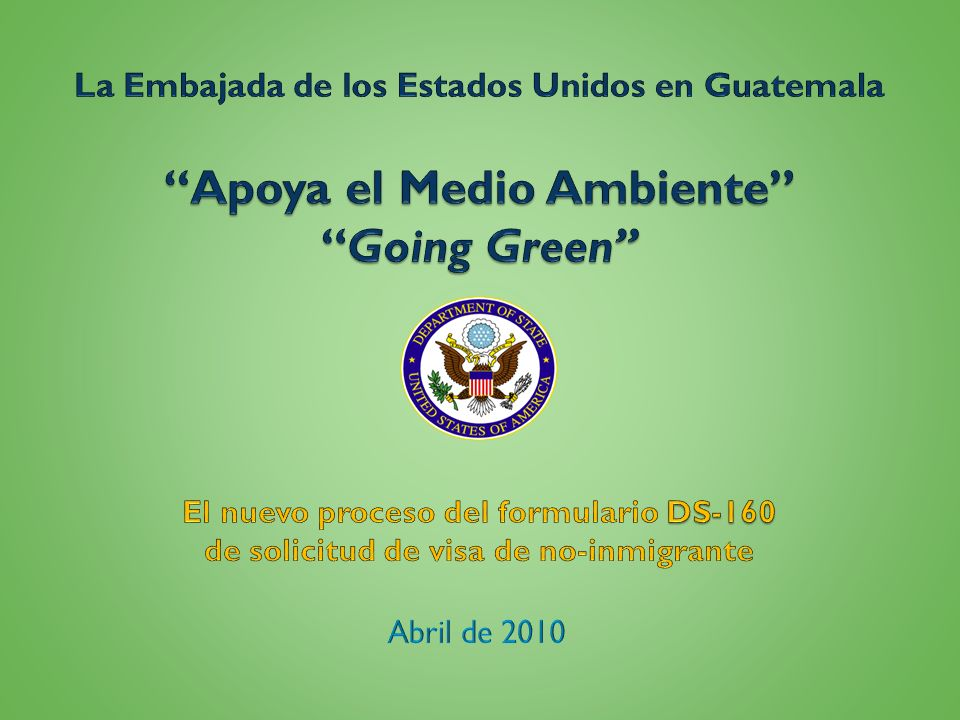 Apoya el Medio Ambiente Going Green