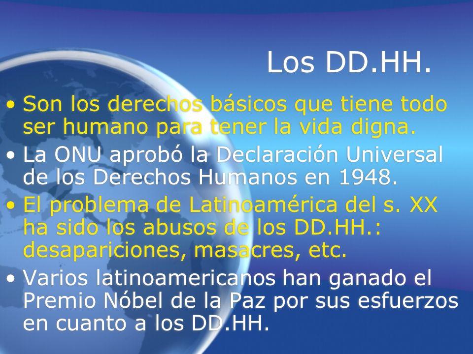 Los DD.HH.Son los derechos básicos que tiene todo ser humano para tener la vida digna.