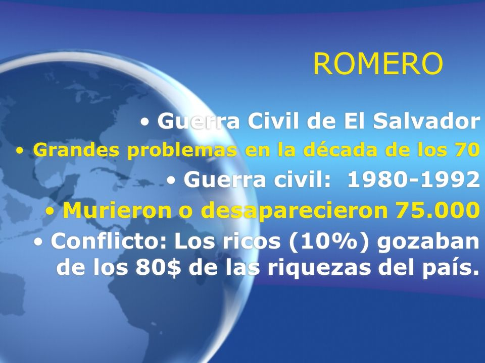 ROMERO Guerra Civil de El Salvador Guerra civil: 1980-1992