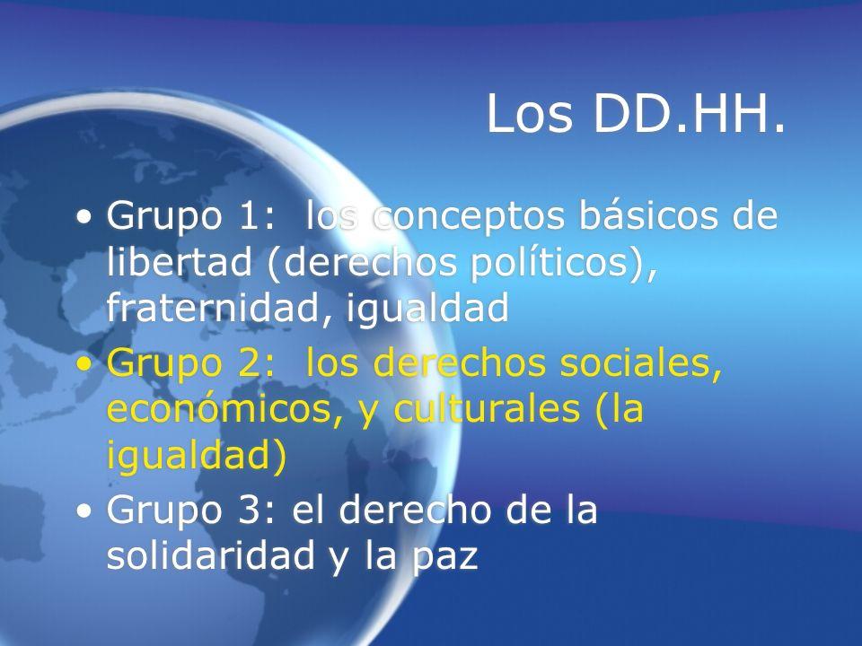 Los DD.HH. Grupo 1: los conceptos básicos de libertad (derechos políticos), fraternidad, igualdad.