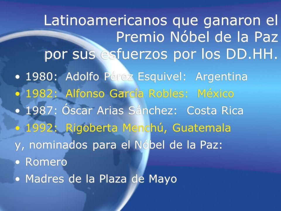 Latinoamericanos que ganaron el Premio Nóbel de la Paz por sus esfuerzos por los DD.HH.