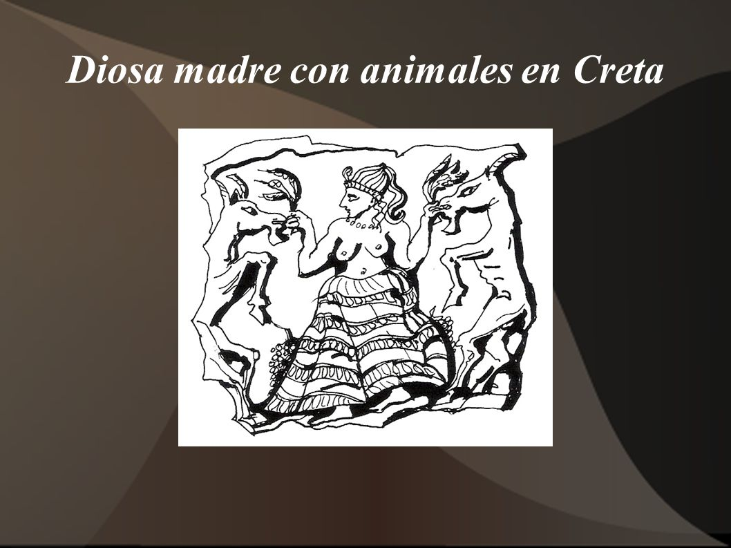 Diosa madre con animales en Creta