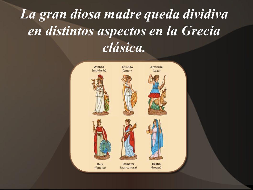 La gran diosa madre queda dividiva en distintos aspectos en la Grecia clásica.