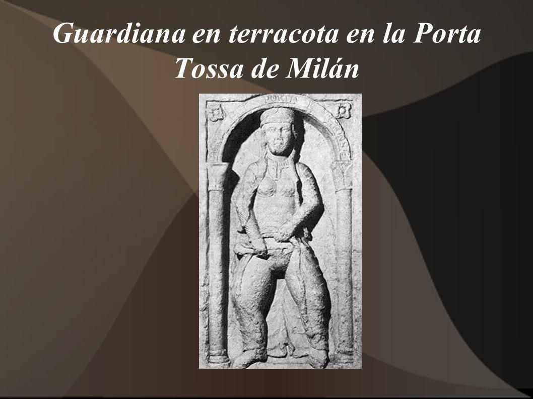 Guardiana en terracota en la Porta Tossa de Milán